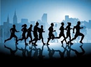 Amazing Race teams running