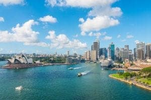 Sydney Harbour city visa with bridge and boats