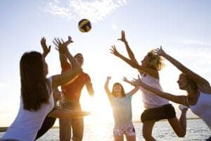teams playing volleyball